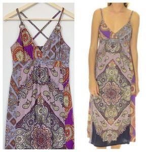 Lucky Brand Boho Purple Paisley Maxi Dress